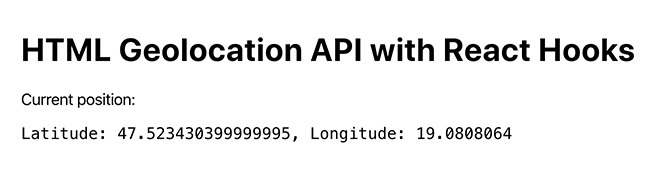 Display Geolocation API results in browser